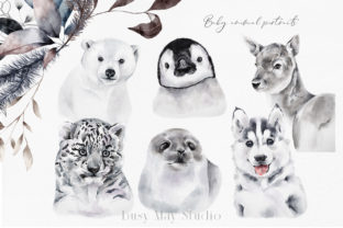 Print on Demand: Christmas Baby Animals Penguin Seal PNG Graphic Illustrations By Busy May Studio 3