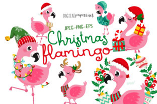 Print on Demand: Christmas Flamingos Graphic Illustrations By DigitalPapers