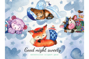 Print on Demand: Good Night Sweety, Cute Baby Animals PNG Graphic Illustrations By CherrypearStudio