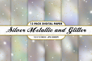 Print on Demand: Sliver Metallic Glitter Digital Papers Graphic Backgrounds By Artnoy
