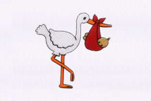 Stork Carrying Baby Birds Embroidery Design By StitchersCorp