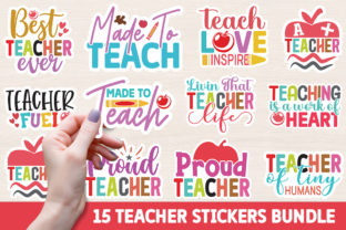 Print on Demand: Teacher Printable Stickers Bundle Graphic Crafts By Designdealy
