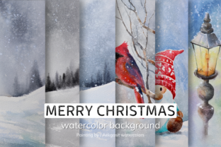 Print on Demand: Watercolor Background of Merry Christmas Graphic Backgrounds By aekgasit