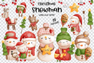 Print on Demand: Christmas Vintage Snowman Clipart Graphic Illustrations By Chonnieartwork 2