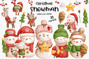 Print on Demand: Christmas Vintage Snowman Clipart Graphic Illustrations By Chonnieartwork