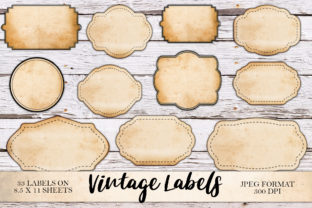 Print on Demand: Digital Blank Vintage Labels Graphic Objects By Digital Attic Studio