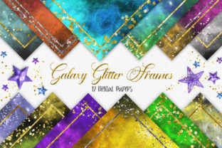 Print on Demand: Galaxy Glitter Frames Digital Papers Graphic Backgrounds By PinkPearly