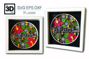 3D REJOICE Svg -  CHRISTMAS Svg Graphic 3D Shadow Box By my3dsvg
