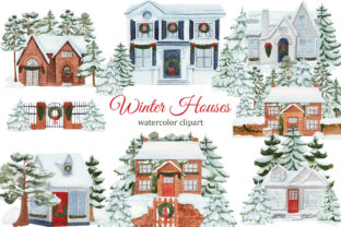 Print on Demand: Watercolor Winter House Clipart Graphic Illustrations By s.yanyeva 1
