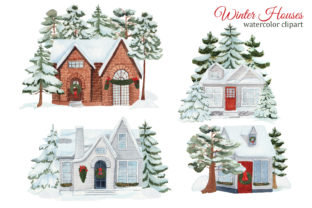 Print on Demand: Watercolor Winter House Clipart Graphic Illustrations By s.yanyeva 2