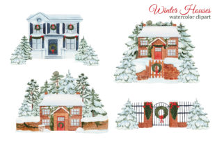 Print on Demand: Watercolor Winter House Clipart Graphic Illustrations By s.yanyeva 3