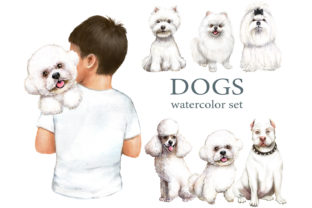 White Dogs Watercolor Set, Dogs Clipart Gráfico Add-ons Por EvArtPrint