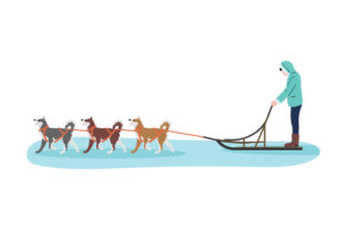 Dog Sled Driving Through the Snow Dogs Craft Cut File By Creative Fabrica Crafts