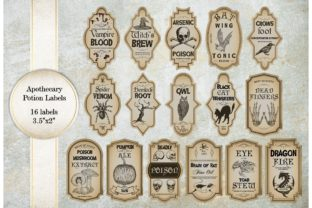 Print on Demand: Apothecary Potion Labels Graphic Crafts By PompadourAtelier