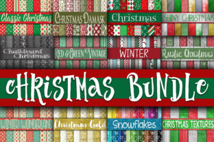 Print on Demand: Christmas Digital Paper Bundle Graphic Backgrounds By oldmarketdesigns 1