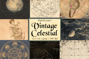 Print on Demand: Digital Vintage Celestial Papers Graphic Backgrounds By Digital Attic Studio