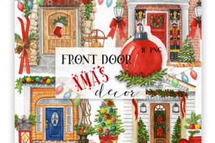 Front Door Christmas Decor Graphic Illustrations By KaleArtCreative 1