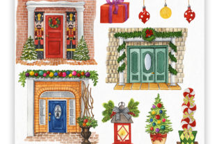 Front Door Christmas Decor Graphic Illustrations By KaleArtCreative 2