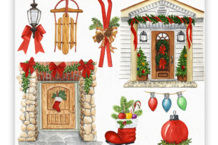 Front Door Christmas Decor Graphic Illustrations By KaleArtCreative 3