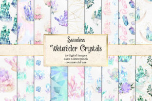 Print on Demand: Watercolor Crystal Digital Paper Graphic Textures By Digital Curio