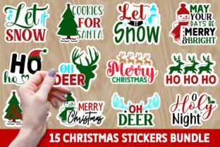 Print on Demand: Christmas Stickers Bundle Graphic Crafts By Designdealy