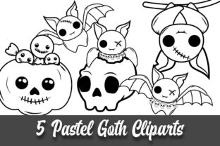 Print on Demand: Pastel Goth Bats Coloring Book Clipart Graphic Coloring Pages & Books By Grafixeo