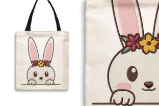 Print on Demand: Rabbit with Flower Crown Animals Embroidery Design By Wilansa