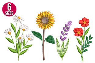 Print on Demand: Wildflowers Floral & Garden Embroidery Design By Nations Embroidery 1