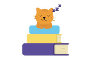 Cat Sleeping on a Stack of Books Cats Craft Cut File By Creative Fabrica Crafts