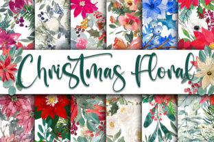 Print on Demand: Christmas Floral Digital Papers Graphic Backgrounds By oldmarketdesigns
