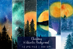Print on Demand: Christmas Watercolor Background Graphic Backgrounds By Mareeya Lee