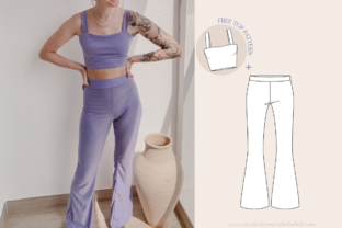 High Waist Flare Pants Sewing Pattern Graphic Sewing Patterns By Make It Yours - The Label