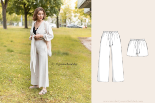 High Waist Wide Leg Lounge Culotte Pants or Shorts Sewing Pattern Graphic Sewing Patterns By Make It Yours - The Label