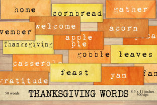 Print on Demand: Thanksgiving Word Scraps Graphic Objects By Digital Attic Studio