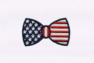Us Inspired Bowtie Independence Day Embroidery Design By StitchersCorp
