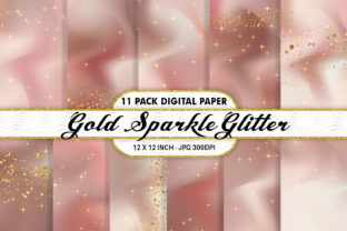 Print on Demand: Coral and Gold Glitter Digital Paper Graphic Backgrounds By Artnoy