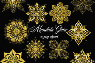 Print on Demand: Mandala Gold Glitter Clipart Graphic Illustrations By PinkPearly