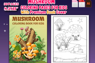 Mushroom Coloring Page with Book Cover - 1