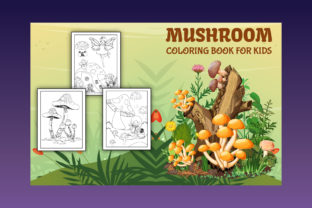 Mushroom Coloring Page with Book Cover - 2