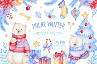 Watercolor Polar Bear Christmas Clipart Graphic Illustrations By SipkaDesigns