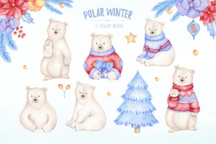 Watercolor Polar Bear Christmas Clipart Graphic Illustrations By SipkaDesigns 2