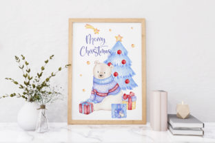 Watercolor Polar Bear Christmas Clipart Graphic Illustrations By SipkaDesigns 6