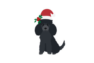 Black Poodle Wearing a Christmas Hat Dogs Craft Cut File By Creative Fabrica Crafts