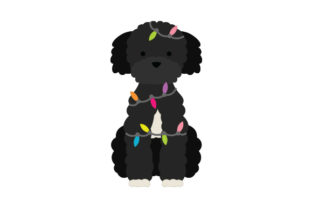 Black Poodle Wrapped in Christmas Lights Dogs Craft Cut File By Creative Fabrica Crafts 1