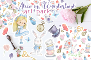 Alice in Wonderland PNG Clipart. Graphic Illustrations By CosyArtStore by RivusDea