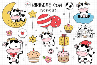 Print on Demand: Baby Cow Svg, Birthday Cow Svg Graphic Crafts By Chonnieartwork