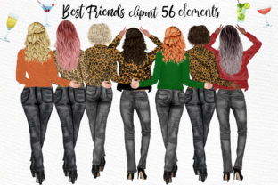 Print on Demand: Best Friends Clipart Animal Print Girls Graphic Illustrations By LeCoqDesign