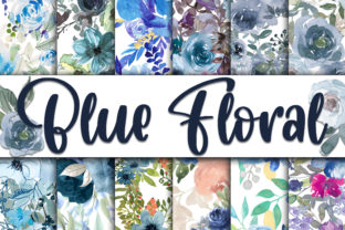 Print on Demand: Blue Floral Digital Papers Graphic Backgrounds By oldmarketdesigns