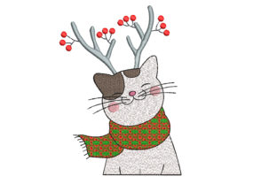 Christmas Cat with Reindeer Horns Cats Embroidery Design By Canada Crafts Studio