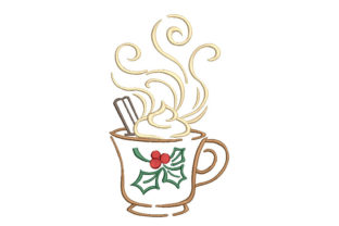 Coffee Cup Tea & Coffee Embroidery Design By Canada Crafts Studio